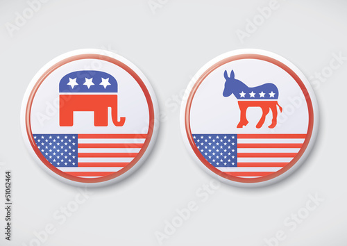 US Politics - Republican & Democratic party button badge
