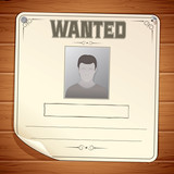 Wanted Poster on Wooden Wall. Vector Template