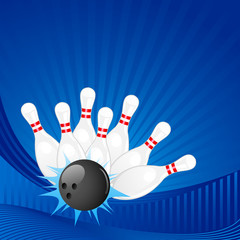 vector illustration of bowling pin with ball