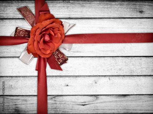 Ribbon Flower on Wood