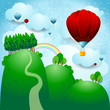 Countryside with balloons, fantasy illustration