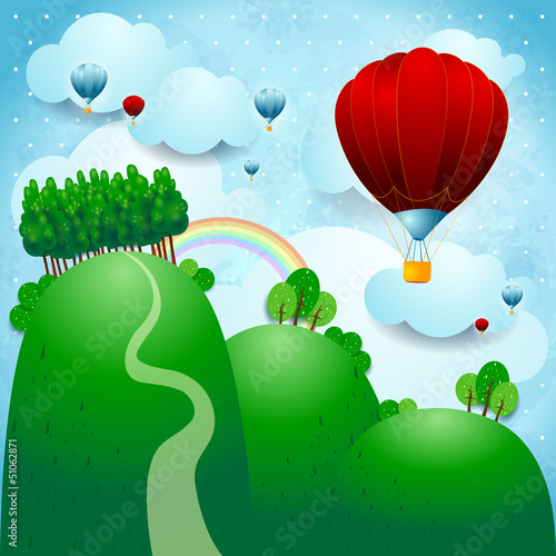 Keuken foto achterwand Bosdieren Countryside with balloons, fantasy illustration