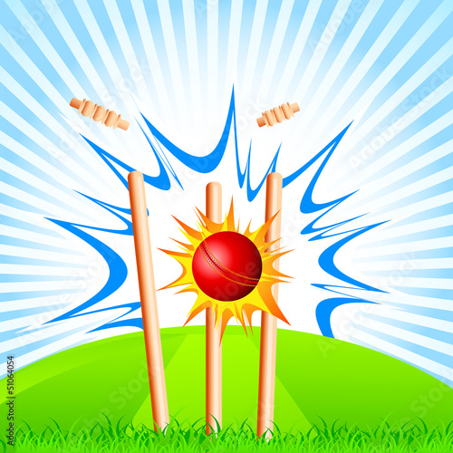 vector illustration of cricket ball hitting stumps