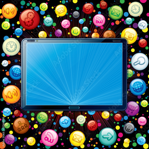 Concept. Tablet PC with Media Icons Cloud.