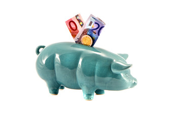 piggy-bank with euro money isolated on white