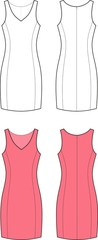 Vector illustration of dress. Front and back views