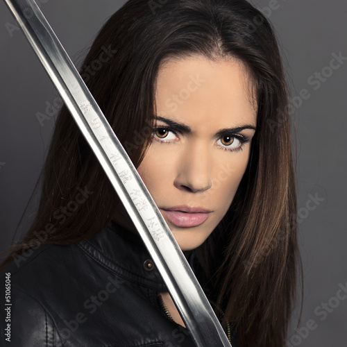Portrait of girl with Katana