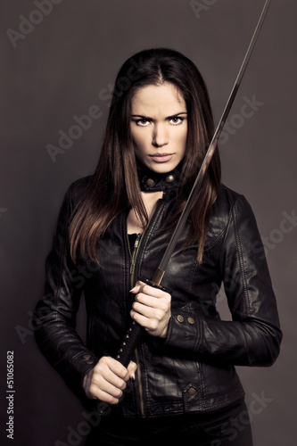 Beautiful girl with Katana