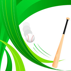 vector illustration of baseball bat and ball