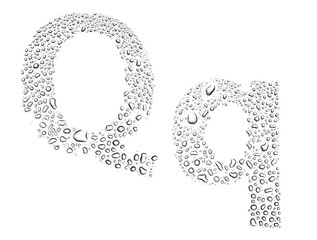 Water drops alphabet letter q, isolated white
