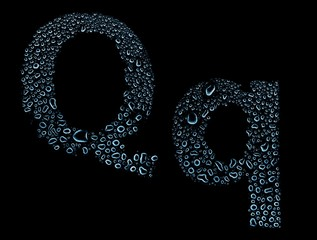 Water drops alphabet letter q, isolated black