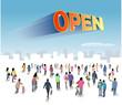 オープンの文字をみる人々
