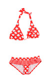 Frilly polka dots red bikini