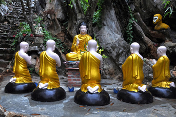 A group statue with Buddha and his students, Vietnam