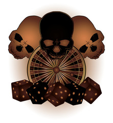 Vintage Casino background with poker elements and skulls