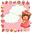 cute cartoon girl and a collection of sweets