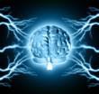 Human brain between thunder lightning