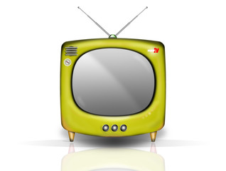 retro tv jaune