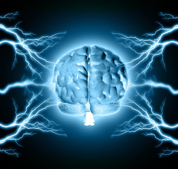 Human brain between thunder lightning