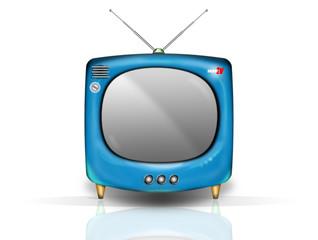 retro tv bleue