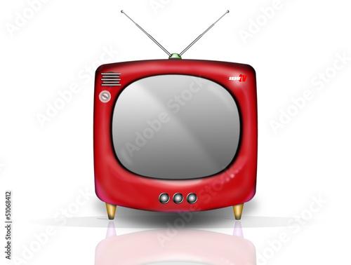 retro tv rouge