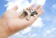 hand and keys.