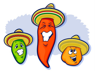 Mexican peppers Illustration