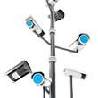 3d security cameras surveillance concept