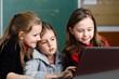 Schoolgirls working with laptop in classroom