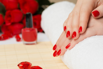 Manicure - with red nail polish
