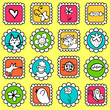 Cute colorful stamps with various drawings