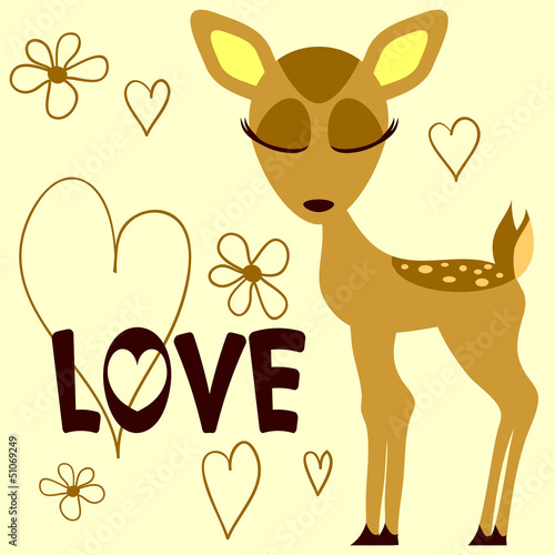 Romantic illustration of a cute fawn
