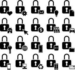Conceptual padlock icons