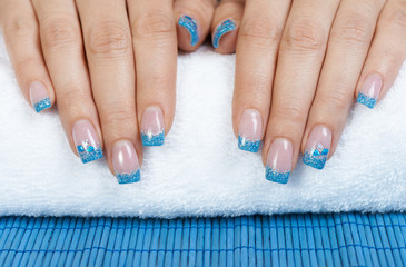 Manicure - blue nail art