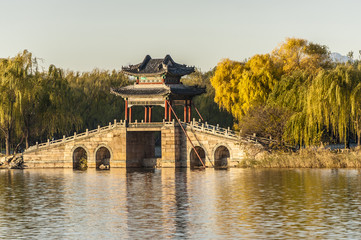 Willow bridge at Xidi of Summer Palace in autumn, Beijing
