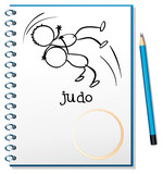 A notebook with a sketch of two people doing judo