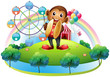 A monkey with a ferris wheel and balloons at the back