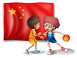 Two boys playing basketball in front of the flag of China