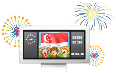 A scoreboard with the Singaporean flag and the three kids