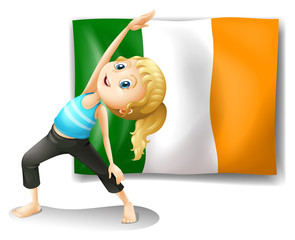 A girl and the flag of Ireland
