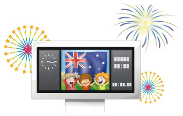 A board with the flag of Australia and three happy kids