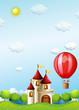 Two boys riding in a hot air balloon near the castle