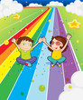 A young girl and a young boy at the colorful road