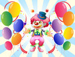 A clown with a colorful costume surrounded by balloons
