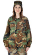Junge Frau in Armee-Uniform