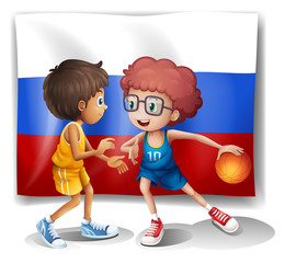 A flag of the Russian Federation with two basketball players