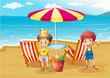 Two boys at the beach near the umbrella and chairs
