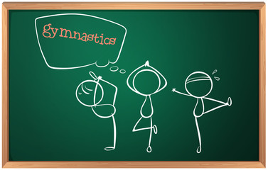 A blackboard with a sketch of the gymnasts
