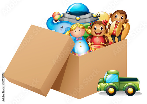 A box full of different toys