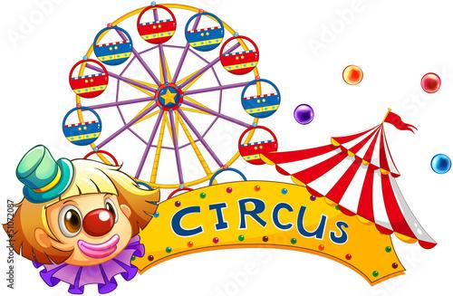 A circus signboard